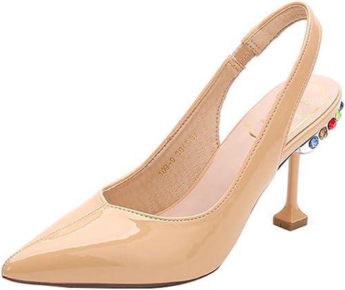 zapatos de Tacón Alto Nuevo Acentuado zapatos únicos de Estilo Princesa Rhinestone Sandalias de Tacón Fino