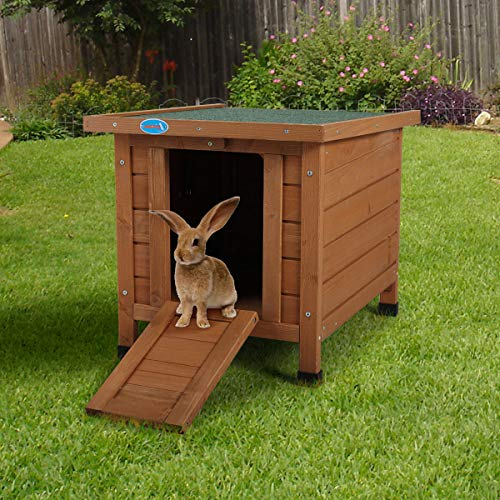 Sandinrayli Outdoor Wooden Rabbit Cat Dog Hutch Retreat House for Small Pets with Openable Roof and...