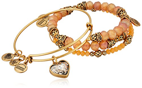 Alex and Ani Crystal Patina Heart Set of 3 Rafaelian Gold Bangle Bracelet