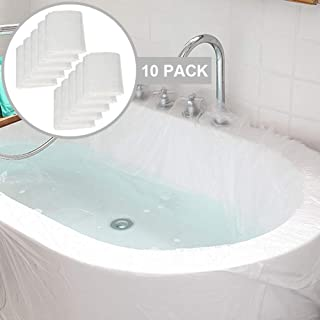 sopplea 10 Pack Disposable Bathtub Cover Liner, Ultra Large Bathtub Liner Plastic Bag for Salon, Household and Hotel Bath Tubs (90x47 Inch)