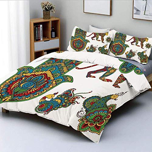 Set copripiumino, figure in stile Mehndi dipinte a mano Scimmia stella marocchina Mano di Hamsa e uccelli pavone decorativi Set di biancheria da letto 3 pezzi decorativo con 2 fodere per cuscini, mult