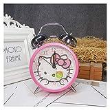Srfghjs Reloj Despertador Doraje de Alarma de Alarma Vintage Creativo Doraemon Hello Kitty Relojes Redondo número Dual Campana Fuerte Reloj (Color : 3)