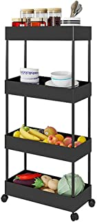 Slim Storage Cart 4 Tier Shelf Rolling Cart Storage Shelves Corner Organizer Metal Storage Racks (Black)
