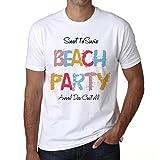 Arenal Den Castell, Beach Party, Fiesta en la Playa, Camiseta para Las Hombres, Manga Corta, Cuello Redondo, Blanco