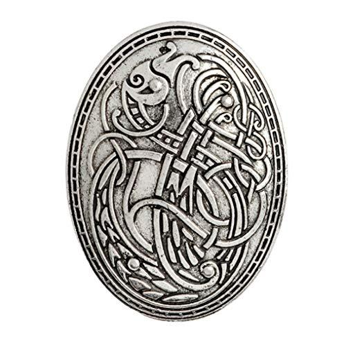 Timesuper Vintage nordische Wikinger Schmuck Wolf Grafik Amulett Muster Broschen Pin,Silber