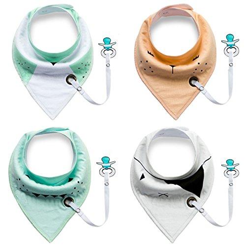 Dreieckstücher Baby Lätzchen Halstücher Kleinkinder mit Schnullerkette für Mädchen oder Junge -4 Stück (Schnuller ist nicht enthalten)
