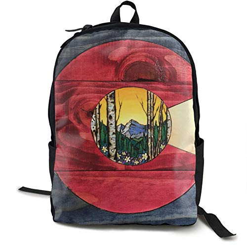 Mochila escolar Boockbag Fashion College Daypack para mujeres hombres y mujeres de madera, bandera de Estados Unidos Colorado