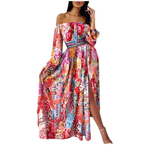 Fashion Women Off Shoulder Colorful Print Long Sleeve Slit Maxi Dress
