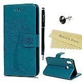 Huawei P20 Lite Hülle Hülle Mavis's Diary Eule Baum Muster Leder Tasche Handyhülle Flip Cover Schutzhülle Lederhülle Skin Ständer Schale Handytasche Bumper Magnetverschluss Klappbar Ledertasche-Blau