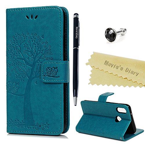 Huawei P20 Lite Hülle Case Mavis's Diary Eule Baum Muster Leder Tasche Handyhülle Flip Cover Schutzhülle Lederhülle Skin Ständer Schale Handytasche Bumper Magnetverschluss Klappbar Ledertasche-Blau
