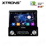 XTRONS Single 1 Din Android 7.1 Quad Core 7' Motorized Detachable HD Multi-Touch Screen Car Stereo in Dash DVD Player GPS Radio Screen Mirroring Function OBD2