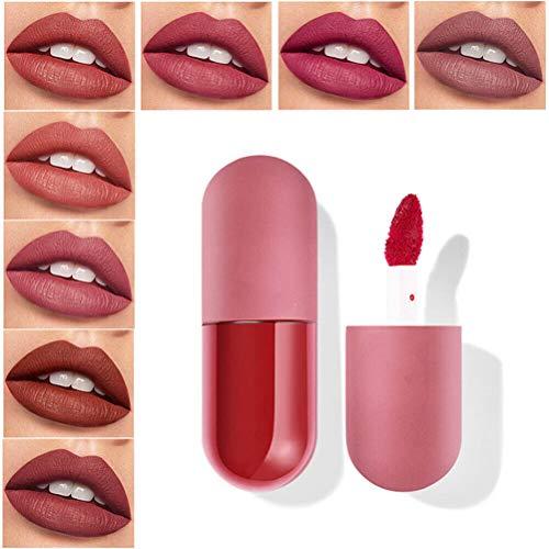 chenzhihui Mini Capsule Matte Lip Glaze, 18 Farben Mini Capsule Lip Glaze Samt Matte Langlebig Glatter Lipgloss, Samt Lip Glaze Matte Paste Lippenstift (915#, 1St)