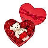 Huilai 10 Stück Seife Blumen Bären Geschenk, Romantische Ewige Geschenkbox Blumen Seife Rose Blume...