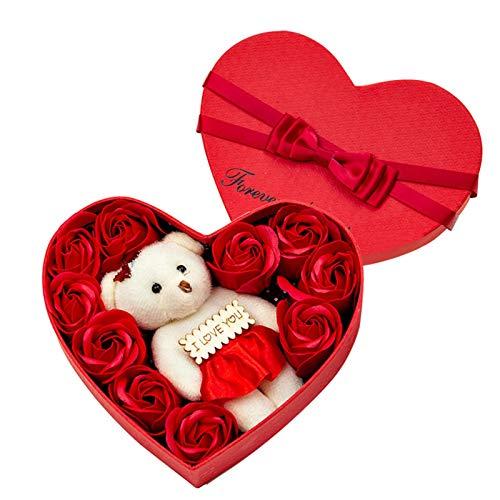 Caja de regalo con forma de corazón para jabón de baño, flores de pétalos de jabón de rosas, lindo oso I Love You y 10 pétalos de flores de jabón de rosas, regalos para aniversario / boda / día de San