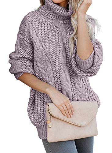 FARYSAYS Women's Fashion Solid High Neck Sweaters Long Sleeve Loose Cable Knit Pullovers Purple Medium