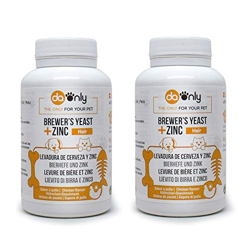 DAONLY Brewers yeast + Zinc + Vitamin E for Dogs and Cats (2 Pack) Natural supplement of B vitamins complex, For your pet's hair, skin and nails.