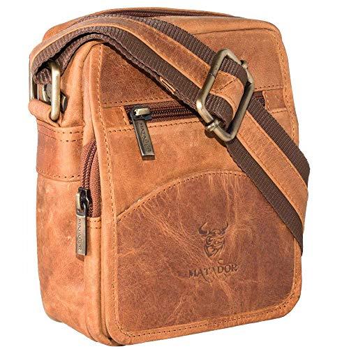 MATADOR kleine kompakte Leder Umhängetasche Herren Ledertasche Schultertasche Vintage Tan Braun