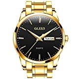 Fashion Mens Gold and Black Watches with Day Date Wrist Watch for Men Gold Waterproof Stainless Steel Dress Man Watch OLEVS Luminous Big Dial Wrsitwatches Casual Male Watch Calendar Reloj para Hombre