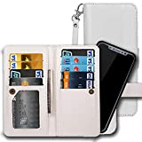 iPhone 6S Plus Wallet Case, iPhone 6 Plus Case, AICOO 2 in 1 Magnetic Removable Flip Leather Wallet Phone Case Credit Card Hold with Credit Card Slot, ID Slot, Cash Pocket and Wrist Strap, White