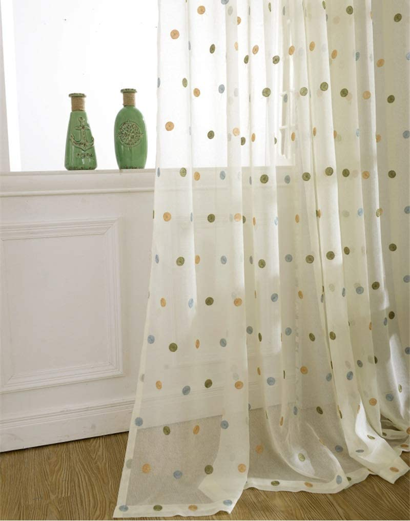 KMSG 1 Set 5☆好評 2 Panels Embroidered Curtains and Boys 即納 Sheer for Gi