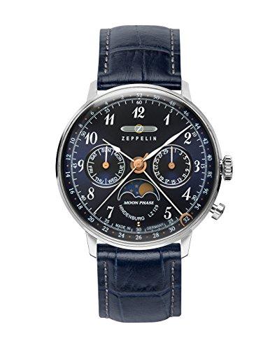 Zeppelin Unisex Chronograph Quarz Uhr mit Leder Armband 7037-3