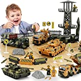 Military Vehicles and Army Battle Site Set with Storage Container, 6 Vehicles, Scout Tower, Missile Truck, Tank (Military-playsets)