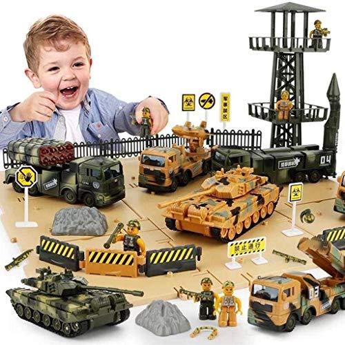 ZUKULIFE Sitio de Batalla de vehículos Militares y ejército con contenedor, 6 vehículos, Torre Scout, camión de misiles, Tanque (Vehículos Militares)