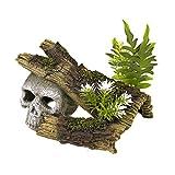 Rosewood Figura Decorativa de cráneo de polirresina con Plantas para Acuario, pequeño