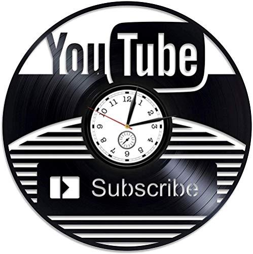 TIANZly Vinilo Youtube Vinilo Reloj de Pared Suscribirse Vinilo Reloj de Pared Reloj Reloj de Vinilo para Hombre Blogger Reloj de Pared Vintage para Blogger Arte de Pared
