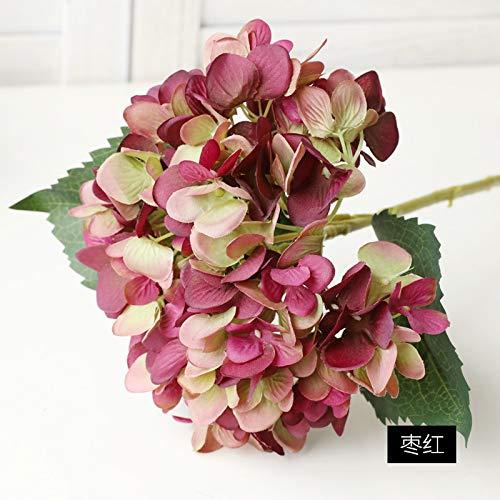 Jun7L Künstliche Hortensie Blumen Dekoration Künstliche Hydrangeablume Hochzeit Dekor Blumenstrauß (3Pcs) 47X19CM