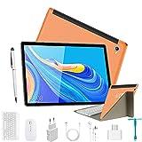 Tablet táctil de 10 pulgadas 4G LTE, Android 9.0, 2 en 1, con teclado de 4 GB de RAM y 64 GB de ROM, Tablet PC | Doble cámara de 5 + 8 MP | Dual SIM | WiFi | Bluetooth GPS | OTG (naranja)
