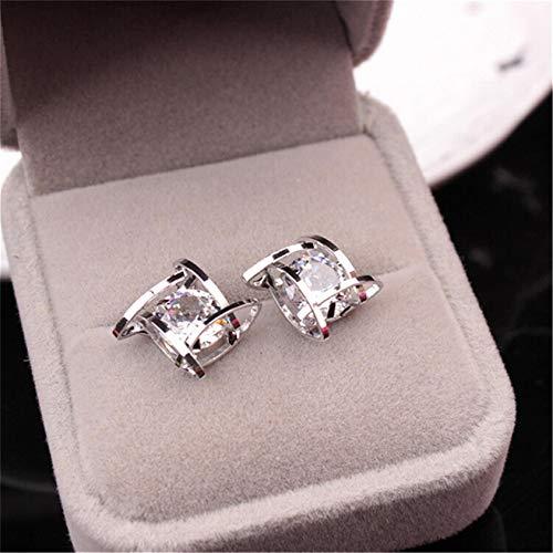 ZYYXB Pendientes pequeños de plata de ley para mujer, con cuentas románticas, pendientes de perlas coreanas, pendientes de hoja de flor, pendientes de tuerca de plata