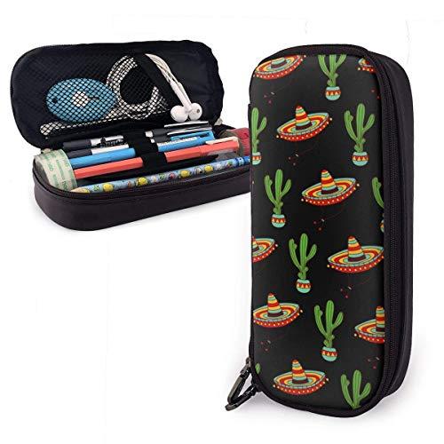 Pen Pencil Case Pouch Houder Grote Capaciteit briefpapier doos voor School benodigdheden Office spullen & Reizen Draagtas (Mexicaanse Sombrero Hoed Cactus)