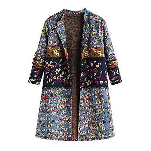 Adelina dames vinatge wintermantel met knoop en bloemendruk, oversize, lange mantel warme modieuze completi outwear met fleece voering winterjas grote maat teddy fleece mantel