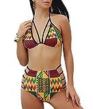 African Print Bikini,Unique Plaid Printed Bikini Adjustable Strapes Sexy Women Beachwear(Yellow,L)