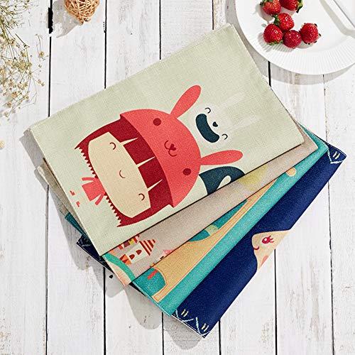 Kuke 4 Pezzi tovagliette Americana in Cotone con Tasca del Fumetto Lavabili tovagliette per Bambini, Cotone