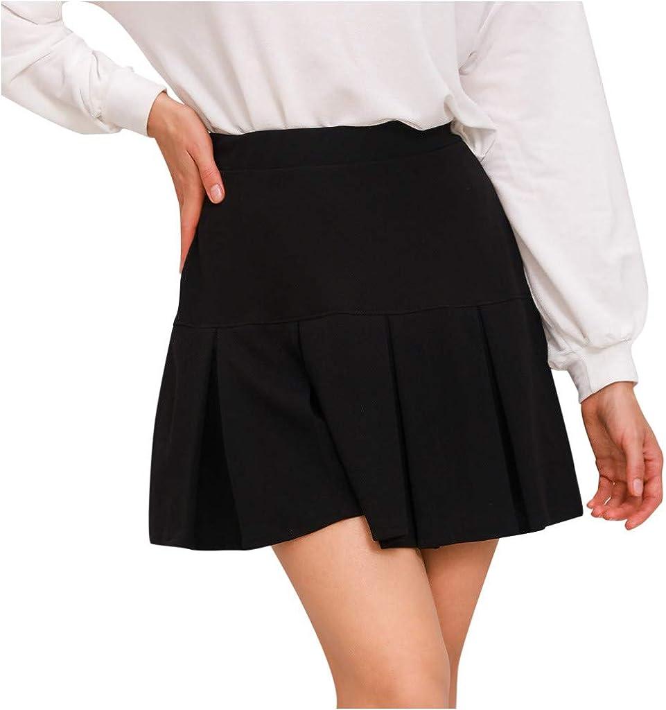 wendunide Women Short Skirt for Women Casual High Waist Solid Ruffled Elastic Waist Ruffle Lingerie Skirts Fashion (Black, S)
