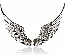 3D Personalized Car Stickers Metal Angel Wings Car Stickers Badge Wings Decoration Stickers For BMW Audi Ford Volkswagen Toyota Car (Silver)