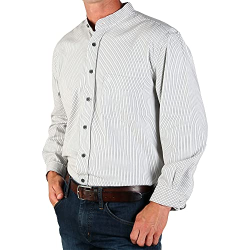 The Celtic Ranch Traditional Collarless Grandfather Shirt, Men's Long Sleeve Dress Shirt (Black and White Stripe, Large)