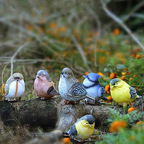 Cozyhoma 6 piezas de pájaros miniaturas jardín Animal Adornos Figuras Vivid Resina Magpie Robin Bird al aire libre estanque interior Ornamento Escultura Decoración