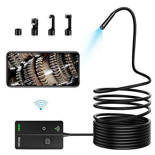 KinCam WiFi Endoskop Kabelloses 1080P Zoombare 5.5mm wasserdichte Inspektionskamera mit 6 LED Licht Halbsteife Kabel (5M) Endoskopkamera für Android, IOS, iPhone, Samsung und Table