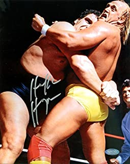 Hulk Hogan Signed 8x10 Photo WWE With Andre the Giant Steiner