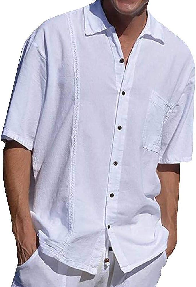 Pretifeel Mens Cuban Camp Shirts Button Down Short Sleeve Guayabera Linen Summer Beach Loose Fit Shirts