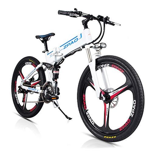 JPFCAK, 26 Pollici, Bici Elettrica, Pieghevole, Mountain Bike, Batteria agli Ioni di Litio da 48 V LG, Motore da 350 W, Città Permuta, Durata della Batteria 70-90 Km