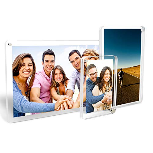 MOOSENG crylic Photo Frame,Magnetic Rotating Frameless Double Sided Picture Frame, Vertically&Horizontally Arbitrarily Placed for Desk, Office,Graduation, Family, (3pce)