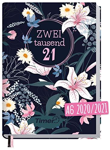 Chäff-Timer Mini A6 Kalender 2020/2021 [Dark Flower] Terminplaner 18 Monate: Juli 2020 bis Dez. 2021 | Wochenkalender, Organizer, Terminkalender mit Wochenplaner - nachhaltig & klimaneutral