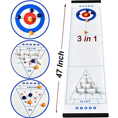 PikDos 3 in 1 Family Table Top Curling Games for Kids and Adults Fun Bowling Board Game Shuffleboard Pucks with 8 Rollers Stones Travel Compact Storage