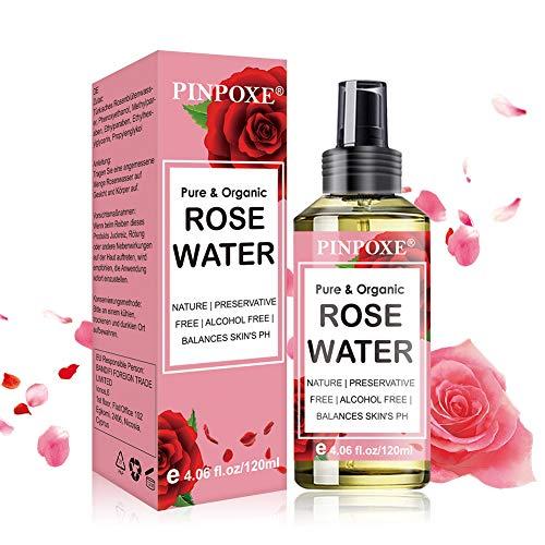 Rosenwasser, Bio Organic Rose Water, naturreines Rosen-Hydrolat, Gesichtswasser, Tonisierendes Gesichtswasser, beruhigt, Feuchtigkeitsspendende, erfrischt und reguliert den Haut-pH-Wert