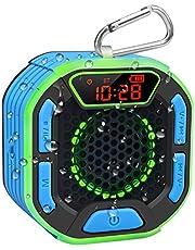 BassPal Draagbare Bluetooth douche-luidspreker, IPX7 waterdichte luidspreker met luid geluid, led-display, karabijnhaak, lichtshow, draadloze luidspreker voor strand, zwembad, thuis, feest