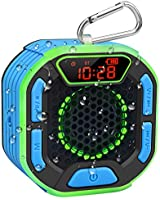 DuoTen Shower Speaker, IPX7 Waterproof Portable Bluetooth Speakers with Loud Stereo Sound, LED Display, Light Show, FM Radio, Suction Cup, Sturdy Hook for Home, Party, Outdoor, Travel, Pool, Hiking